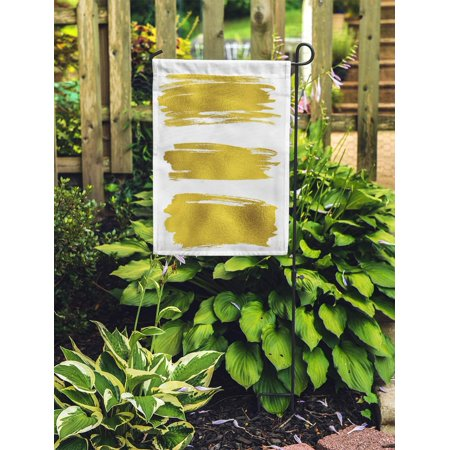 NUDECOR Yellow Leaf Gold Paint Stains Brush Strokes Abstract Material Painterly Garden Flag Decorative Flag House Banner 28x40 inch - image 1 of 2