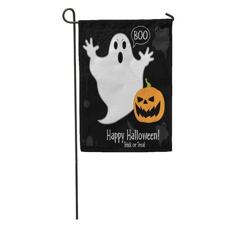 LADDKE Afraid Funny Ghost in Cartoon on Pumpkin Halloween Party Autumn Garden Flag Decorative Flag House Banner 12x18 inch](Halloween Party Cartoon)