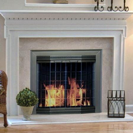 Pleasant Hearth Grandior Bay Fireplace Screen and Bi-Fold ...
