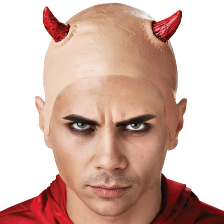 Seasons Evil Devil's Horns Costume Bald Cap, Beige Red, - Bald Skull Cap Costume