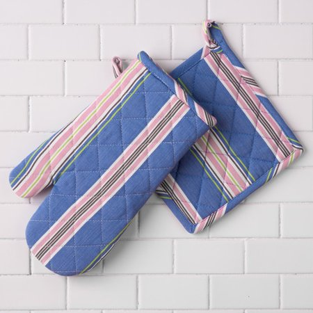 Linen Tablecloth Striped Print Oven Mitt And Potholder Set  Set Of 2