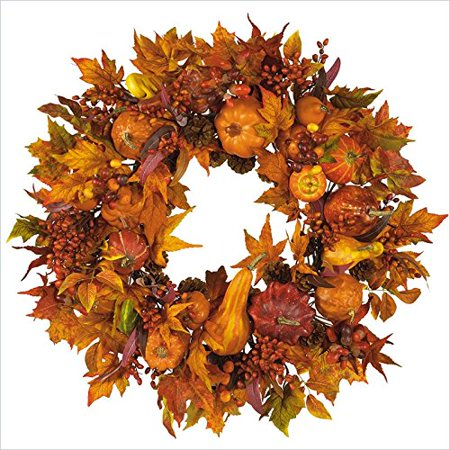 Nearly Natural 4648 Harvest Wreath Fall  28 Inch  Gold