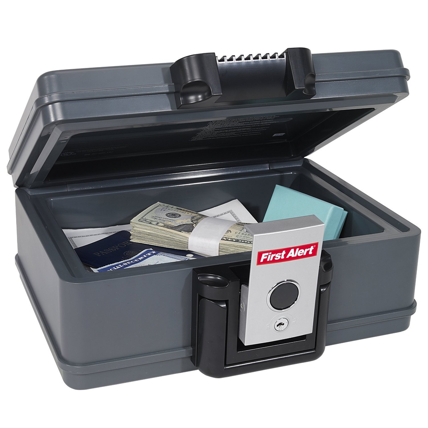 2011F Fire Chest, 0.17 Cubic Foot, Gray, Fire-resistant safe keeps your valuable documents and electronics secure By First Alert