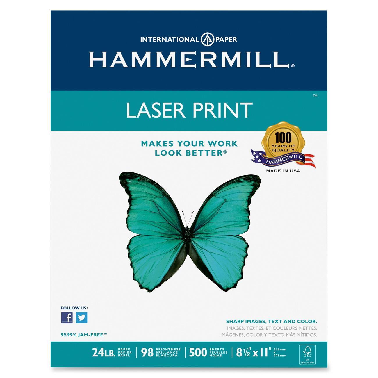 Hammermill Laser Print Paper, 98 Bright, 24lb, Letter, White, 500 Sht