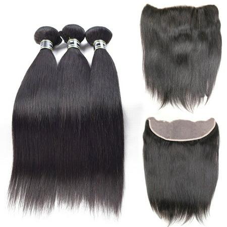 Beroyal Peruvian Virgin Straight Hair Bundles with Closure Free Part Human Hair Weave, 16