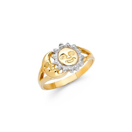 14K Solid Gold Sun and Moon Women Fancy Ring, Size (Sun And Moon Best Friend Rings)