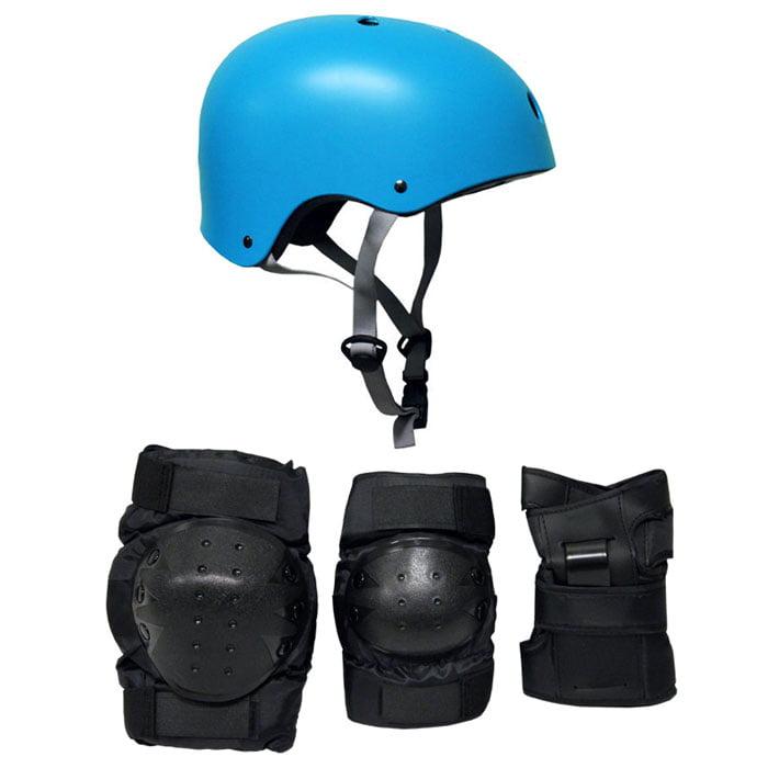 Skateboard Helmet Elbow Knee Wrist Pad Combo MEDIUM Bmx Inline CYAN BLUE by