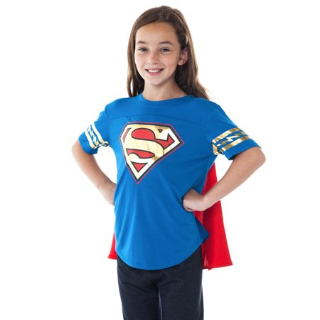 DC Superhero Girls Supergirl Dress Up Costume T-Shirt w/ Cape - Supergirl Costume Girls