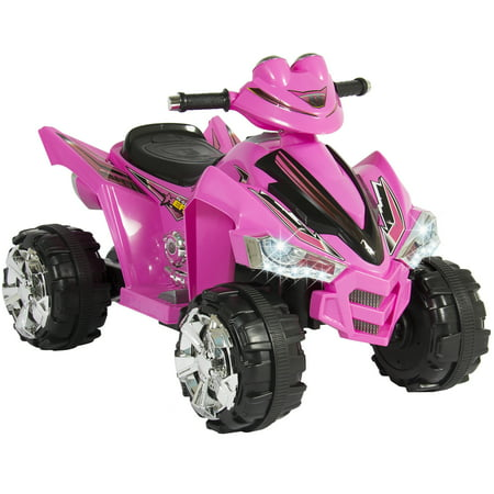 - Best Choice Products 12V Kids Battery Powered Electric 4-Wheeler Quad ATV Toddler Ride-On Toy w/ 2 Speeds, LED Lights, Treaded Tires - Pink