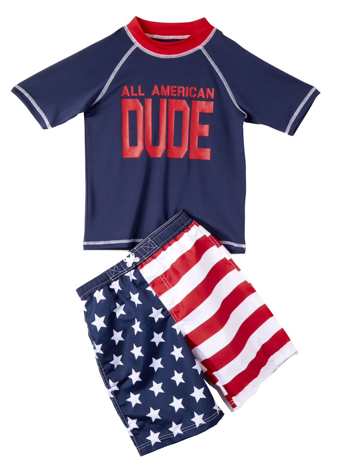 All American Swim Trunk and Rash Guard, 2-Piece Outfit Set (Little Boys)