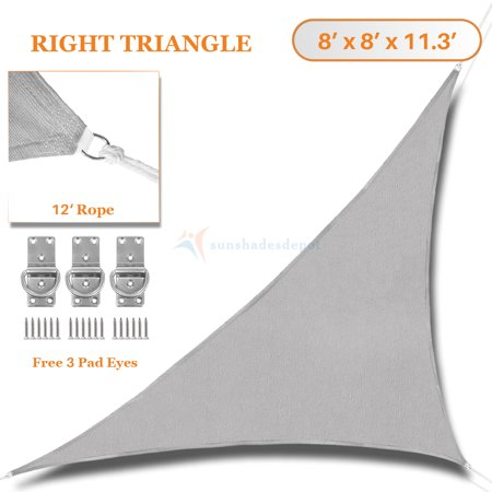 Sunshades Depot 8' x 8' x 11.3' Sun Shade Sail Right Triangle Permeable Canopy Light Gray Custom Size Available Commercial Standard ()