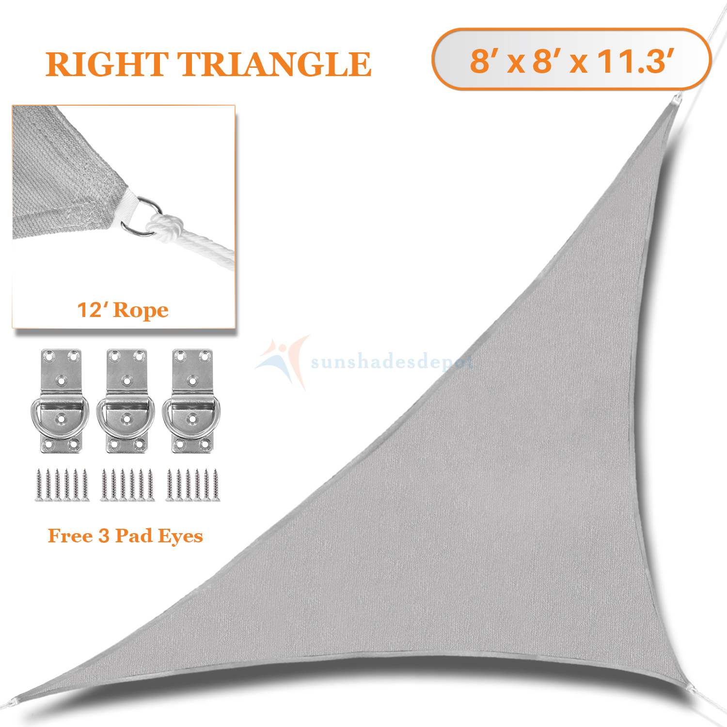 Sunshades Depot 8' x 8' x 11.3' Sun Shade Sail Right Triangle Permeable Canopy Light Gray Custom Size Available Commercial Standard