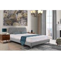 Mid Century Modern Elegant Velvet Bed Frame, King, Dark Grey