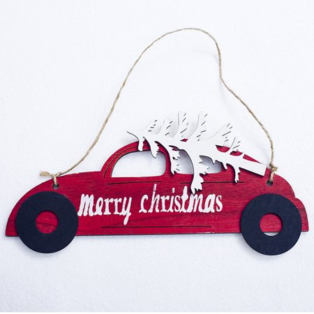 Christmas Wooden Decorative Hanging Card Christmas Tree Car Shape Decorative Pendant Christmas - Car Christmas Decorations