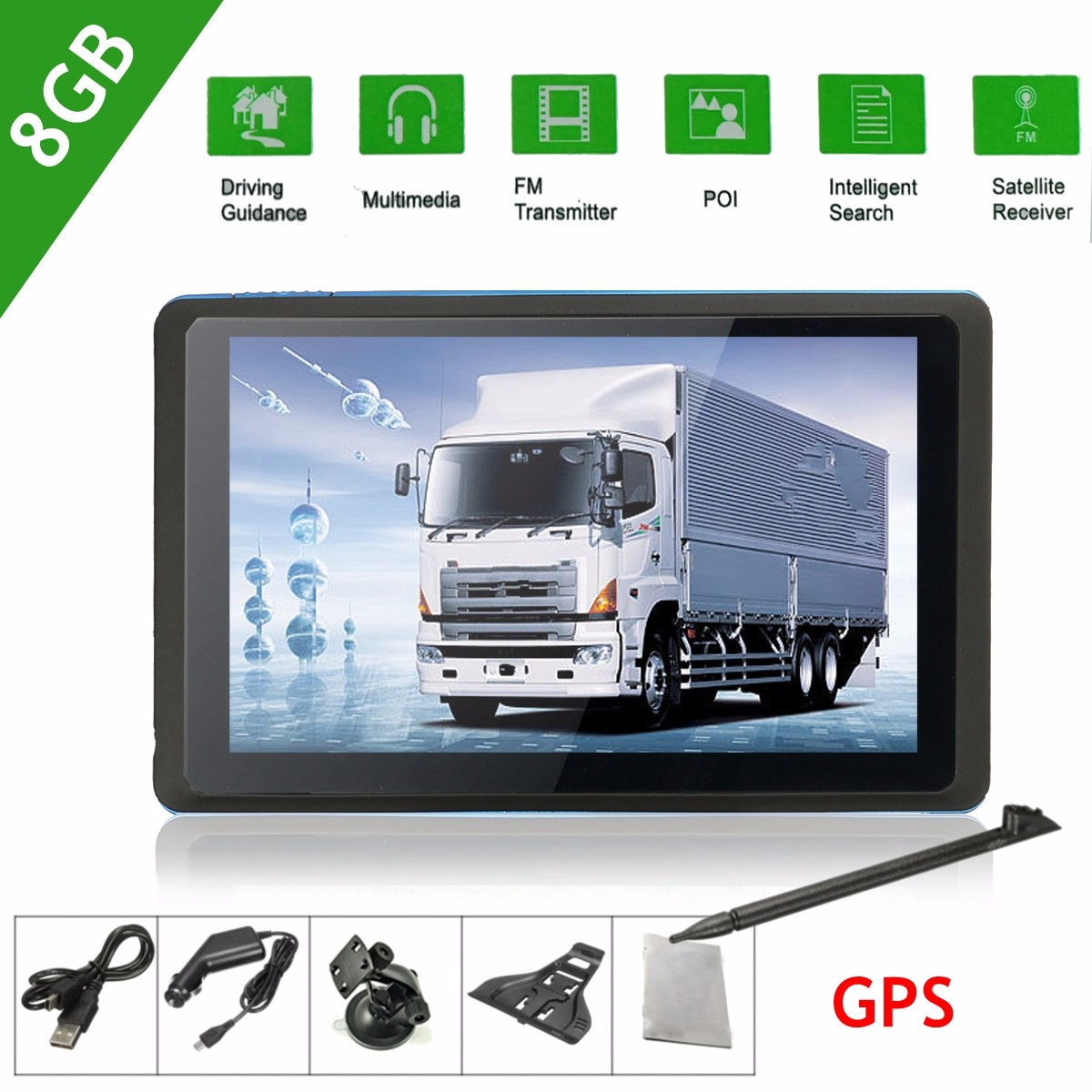 "Mohoo 8GB Capacitive 5"" TFT-LCD Screen Car GPS Navigation System Sat Nav Wireless"