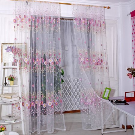 Huppin's 1pc Sunflower Tulle Summer Curtain Sheer Chiffon Drape Voile Valance Window Treatment ()