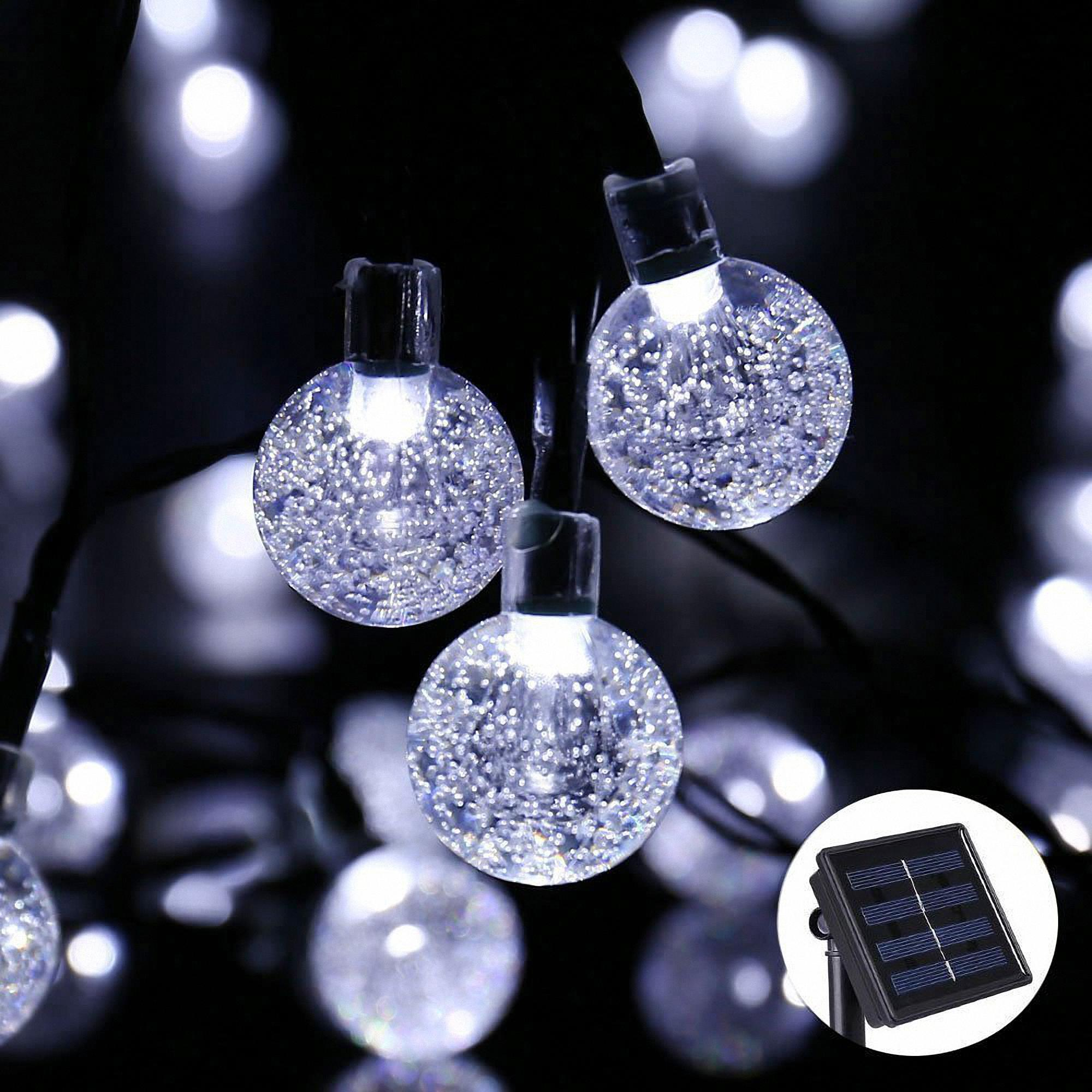 30-LED SOLAR WATER DROP STRING LIGHTS BLUE LED CRYSTAL EFFECT AIR BUBBLES