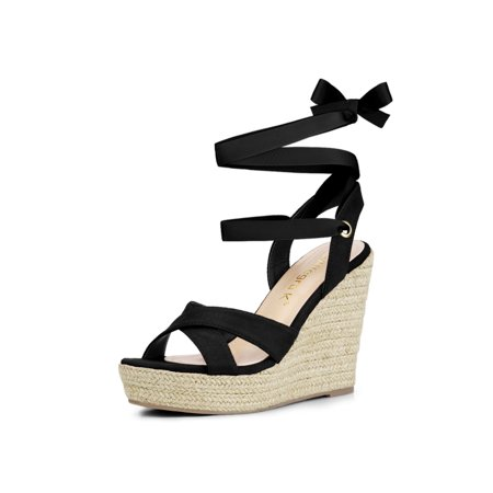 Size 12 Platform Heels (Women's Espadrille Platform Lace Up Wedges Heel Sandals Black (Size)