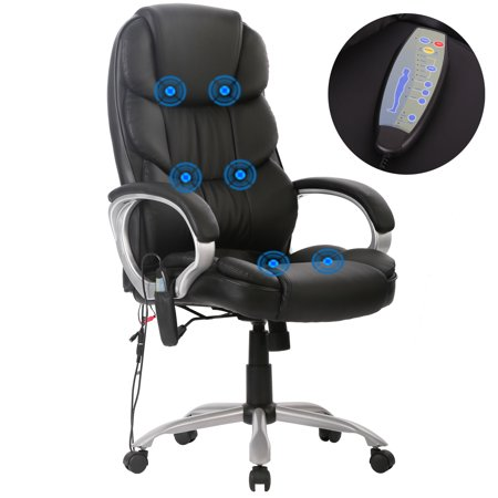 Massage Chair Ergonomic Office Chair Desk PU Leather Computer Chair Task Rolling Swivel Adjustable Stool Executive Chair with Lumbar Support Armrest for Women&Men (Swivel Desk Chair Leather)