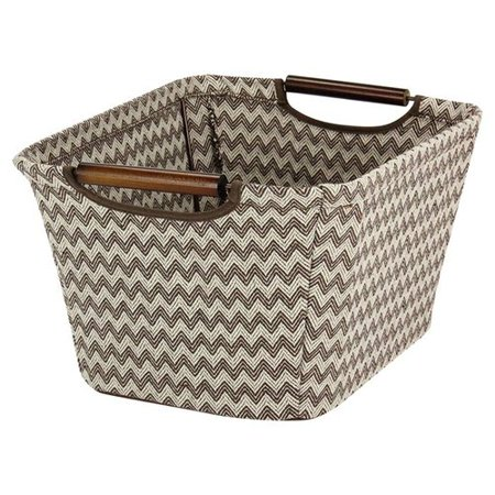 Household Essentials Medium Tapered Storage Bin with Wood Handles, Brown Chevron