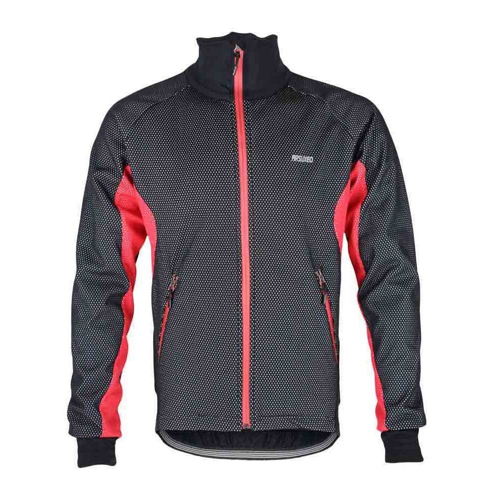 ARSUXEO Men Fleece Thermal Winter Cycling Jacket Windproof Bike Bicycle Wind Coat Clothing Casual Long Sleeve Jersey... by ARSUXEO
