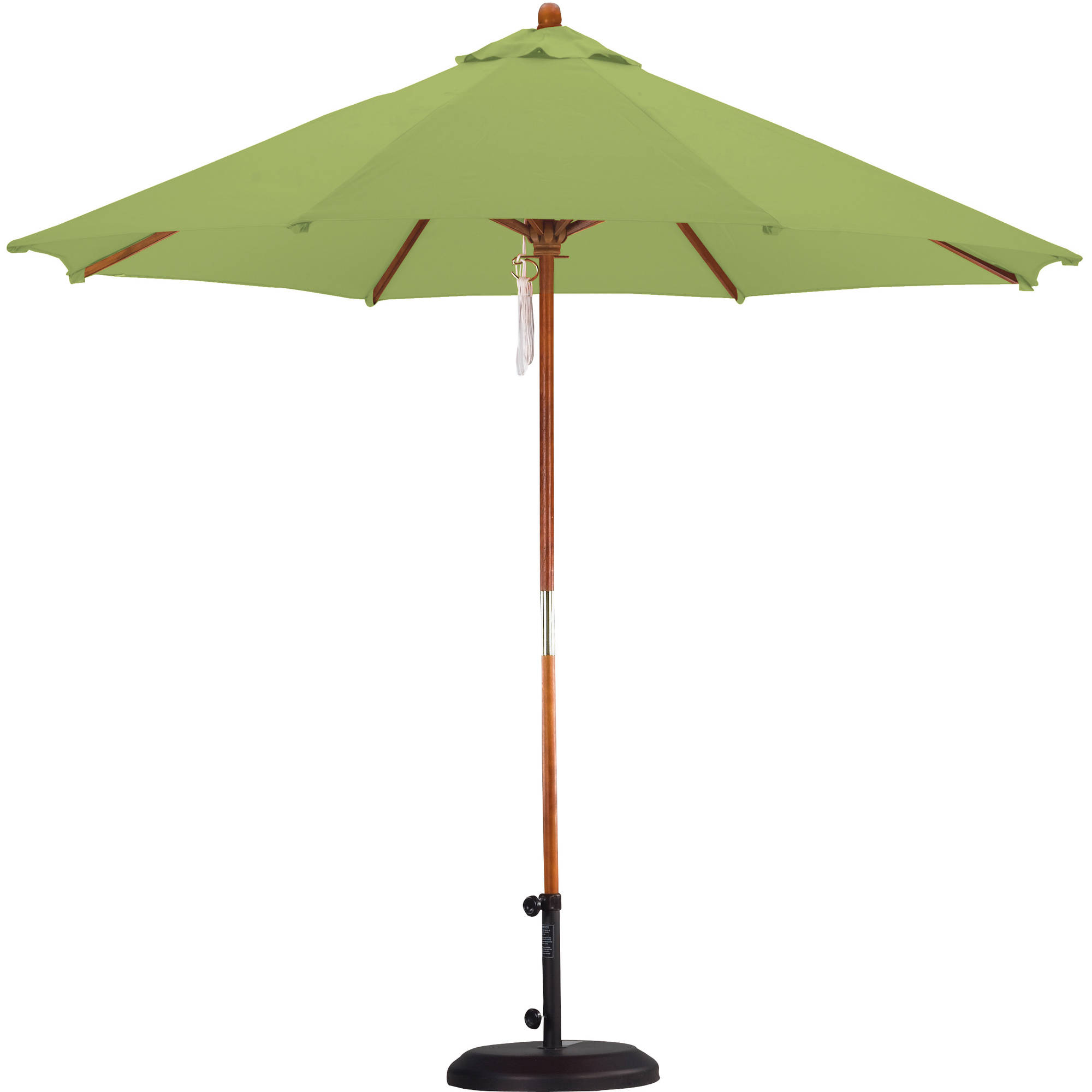 Astella 9' Wood Market Umbrella Pulley Open Hardwood, Polyester, Lime Green by Astella