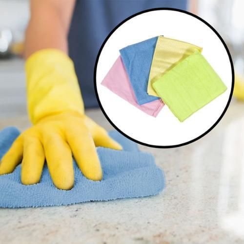 4pk Microfiber Cleaning Cloths Dust Glass Mirrors Kitchen Bath Polish Furniture