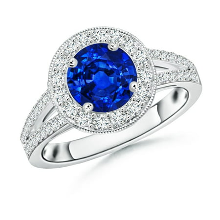 September Birthstone Ring - Round Blue Sapphire Split Shank Ring with Diamond Halo in Platinum (7mm Blue Sapphire) - SR0170S-PT-AAAA-7-9.5