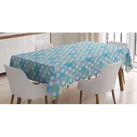 Fish Scale Tablecloth, Japanese Squama Pattern with Smooth Color Change Marine Fantasy Mermaid Tail, Rectangular Table Cover for Dining Room Kitchen, 60 X 90 Inches, Multicolor, by Ambesonne - Fishnet Tablecloth