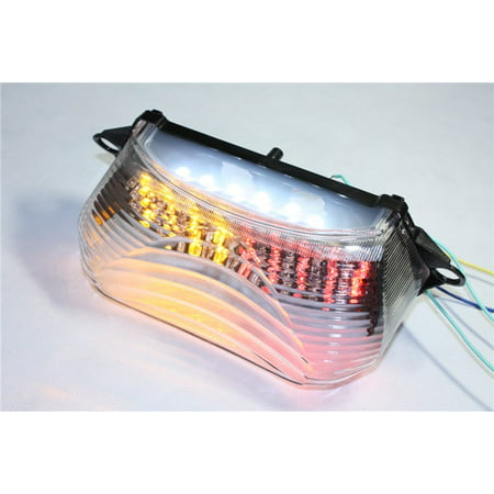 HTT Motorcycle Clear Led Tail Light Brake Light with Integrated Turn Signals Indicators For 1998-2005 Honda Super Hawk / VTR1000 / VTR1000F