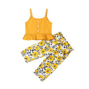 Gueuusu Girls Summer Set Ruffle Sleeveless Cropped Camisole+Floral Trousers