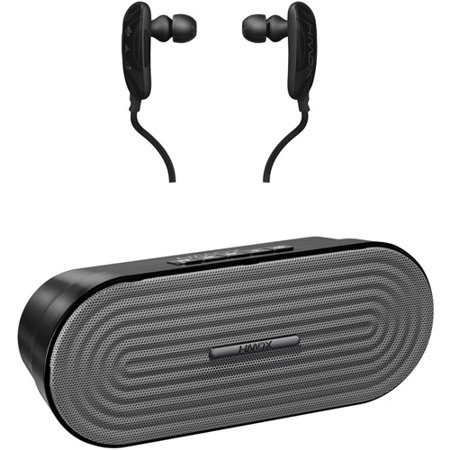 HMDX Kit HMDX HX-EP250BK Craze Bluetooth Earbuds with Microphone and HDMX HX-P205GY Rave Portable Bluetooth Speaker