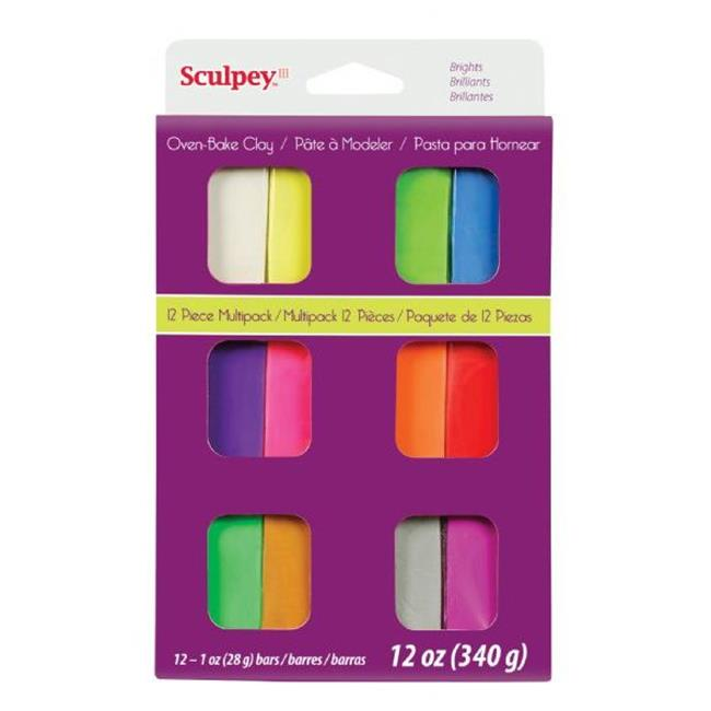 Sculpey III S3VMB12 12-Color Bright Polymer Clay Set