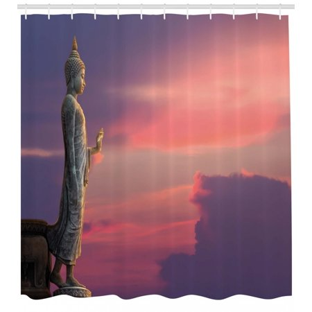 Asian Shower Curtain Big Statue At The Magical Sunset Scene Nature Meditation Themed Picture Art