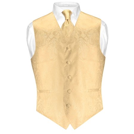 Men's Paisley Design Dress Vest & NeckTie GOLD Color Neck Tie Set for Suit Tux ()