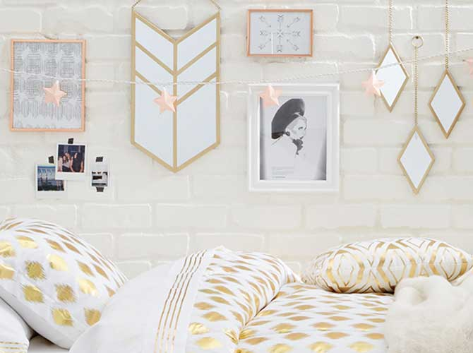 Dorm Decorating Gold Glam
