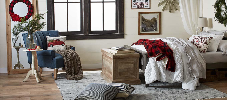 images creative home lighting patiofurn home warm rustic bedroom cozy up with plaid seasonal decor stay warm home products walmartcom