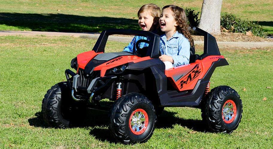 Hyper UTV Ride On. Let your little one ride into adventure in this two-seater ride on. Oversized off-road tires support a body frame that's built for fun, while LED lights & sound effects provide even more entertainment.
