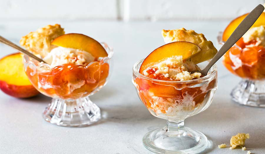 Make Peach Shortcake Ice Cream Sundaes