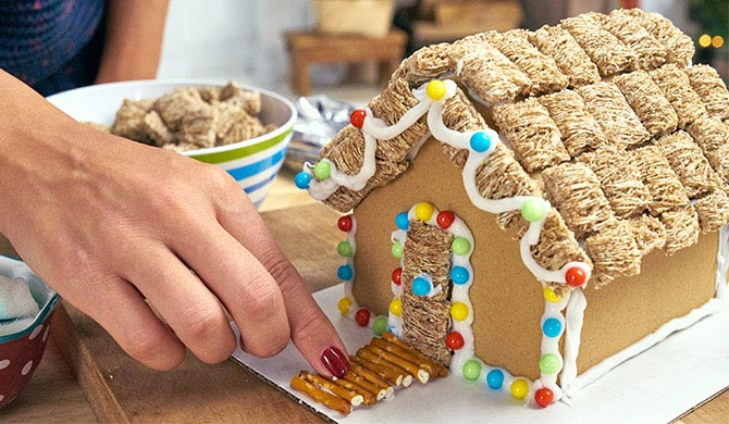 Adding pretzels as walkway to beach gingerbread house