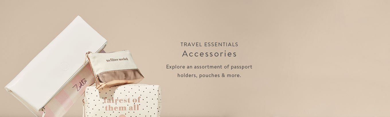 Travel essentials featuring accessories. Explore an assortment of passport holders, pouches & more.