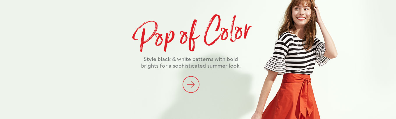 Pop of Color Style black & white patterns with bold brights for a sophisticated summer look.