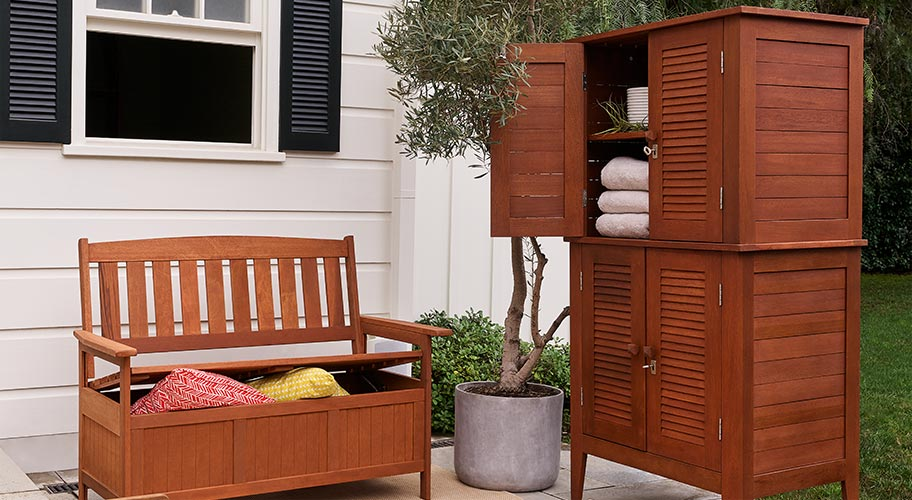 Standout storage. Outdoor style should be effortless and relaxing. Go for premium wood storage furniture that feels like it belongs in your patio setup to store furniture covers, outdoor pillows, sports gear and everything else.