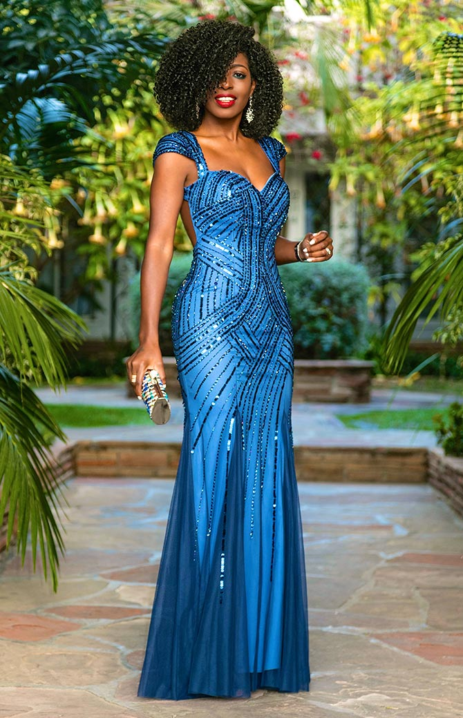 Folake Kuye Huntoon of the Style Pantry wearing a blue gown
