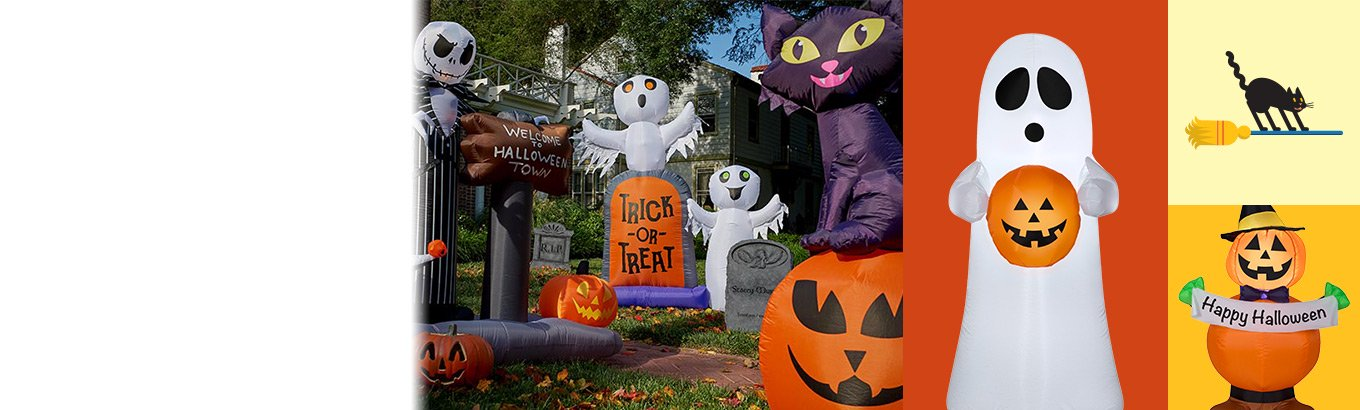 Inflatable frights. Fun & easy outdoor decor including jack-o'-lanterns and more.