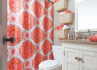 Transform A Small Bathroom Into A Bright Space Filled With Color, Starting  With Plush Towels And A Pattern Perfect Shower Curtain.