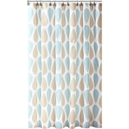 aqua and brown shower curtain.  Bath