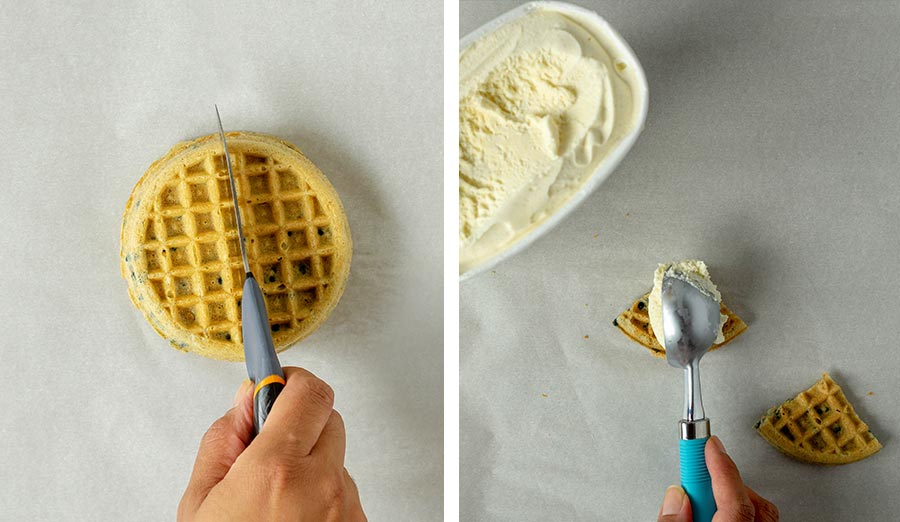 Preparing the waffle ice cream sandwich, cutting and scooping