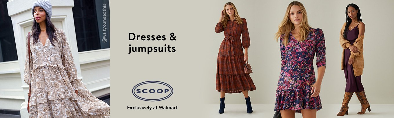 Shop Scoop dresses and jumpsuits, exclusively at Walmart.