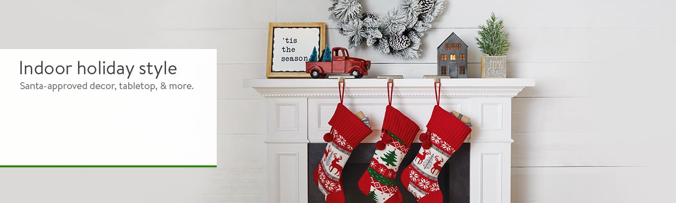 Indoor holiday style. Santa-approved decor,tabletop & more.